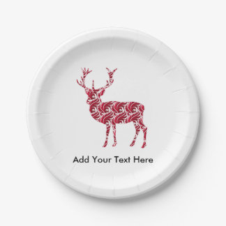 Red Damask Christmas Deer Paper Plate