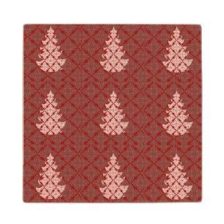 Red Damask Christmas Tree Maple Wood Coaster