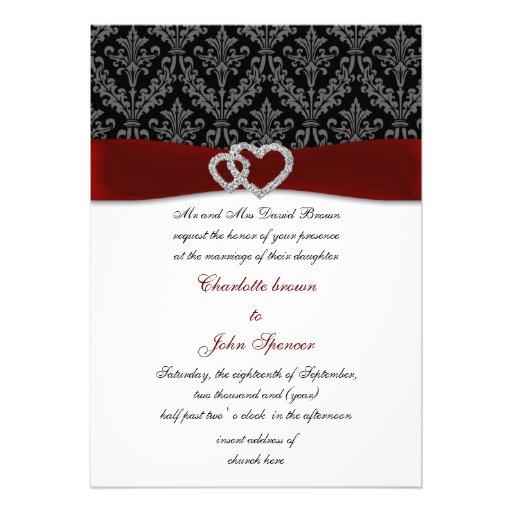 red damask diamante wedding invitation