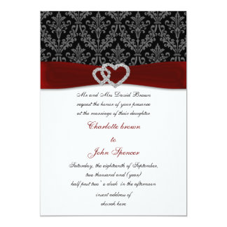 red damask diamante wedding invitation