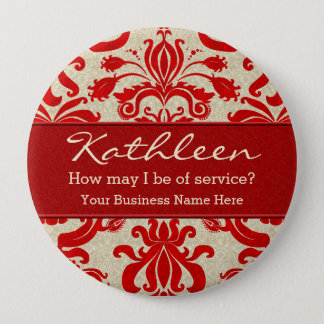 Red Damask Employee Name for Business 10 Cm Round Badge