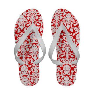 Red damask sandals
