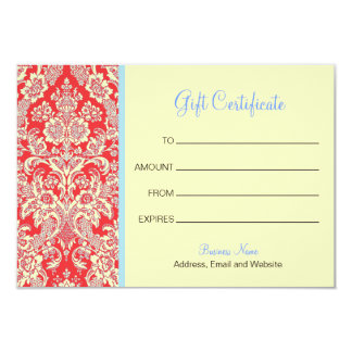 Red Damask Gift Certificate 9 Cm X 13 Cm Invitation Card