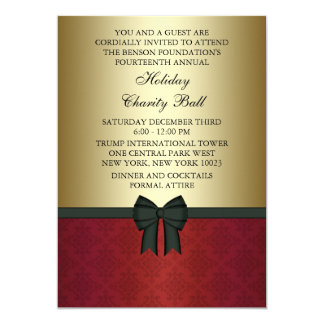 Red Damask Gold Black Tie Corporate Party 13 Cm X 18 Cm Invitation Card