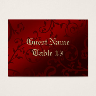 Red Damask Gothic Reception Guest Place Card