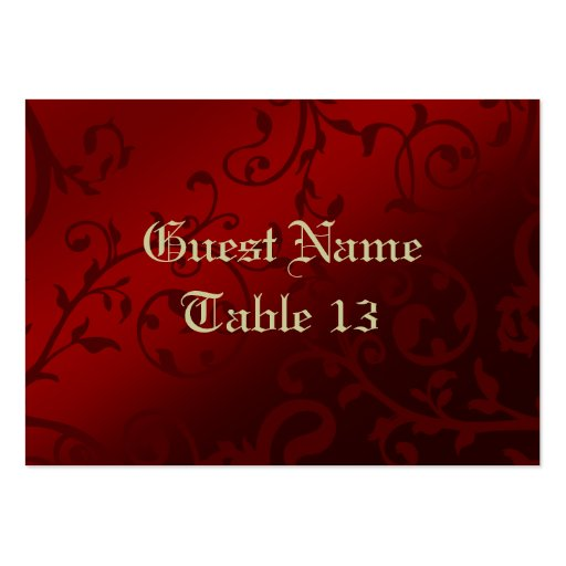 Red Damask Gothic Reception Guest Place Card Business Card Templates