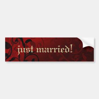 Red Damask Gothic Wedding Bumper Sticker