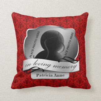 "Red Damask ""In Loving Memory"" In Memoriam Cushion"