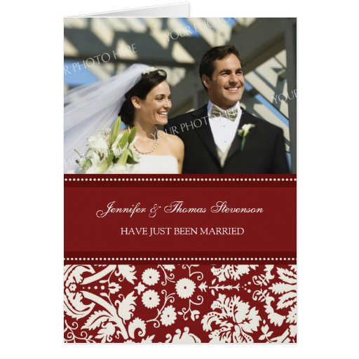 Red Damask Just Married Photo Announcement Card