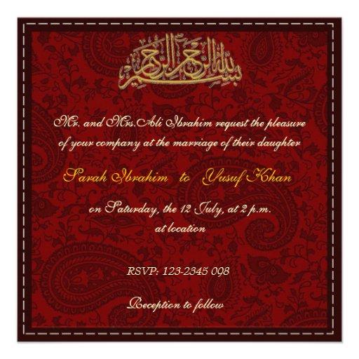 Red Damask Muslim wedding Custom Announcement