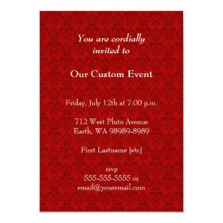 Red Damask Pattern 13 Cm X 18 Cm Invitation Card