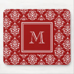 Red Damask Pattern 1 with Monogram Mouse Pad