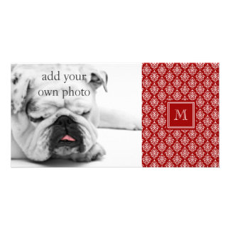 Red Damask Pattern 1 with Monogram Personalised Photo Card