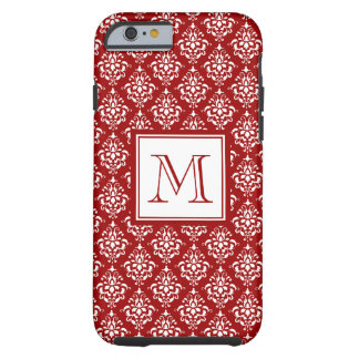 Red Damask Pattern 1 with Monogram Tough iPhone 6 Case