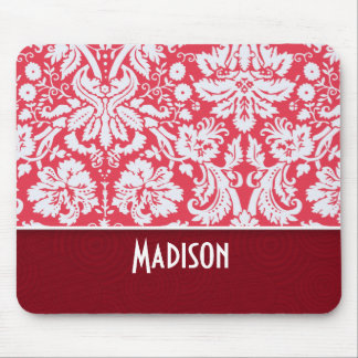 Red Damask Pattern; Cute Mouse Pad