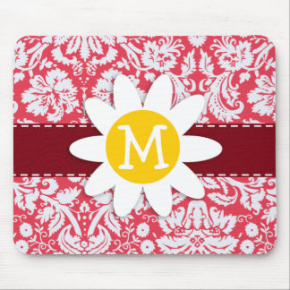 Red Damask Pattern; Daisy Mouse Pad