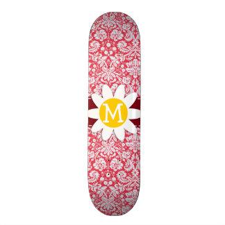 Red Damask Pattern Daisy Skate Deck