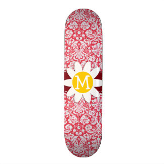 Red Damask Pattern; Daisy Skate Deck