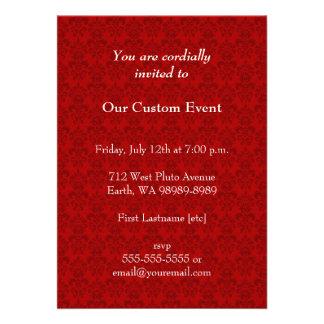 Red Damask Pattern Custom Invitation