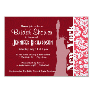 Red Damask Pattern; New York; Statue of Liberty 13 Cm X 18 Cm Invitation Card