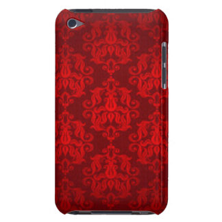 Red Damask Pattern Print Design iPod Case-Mate Cases