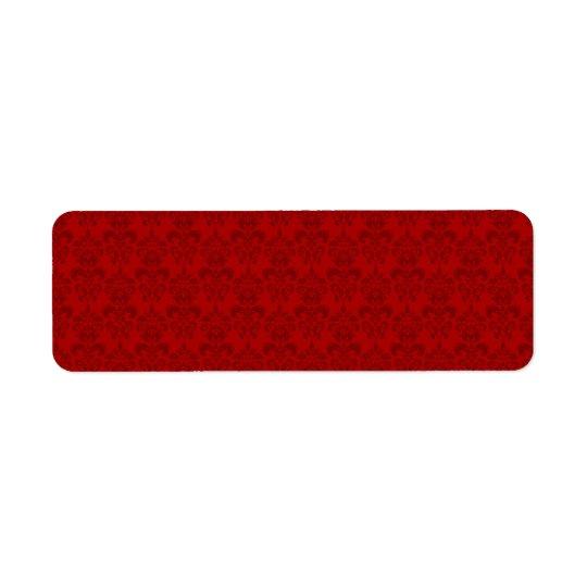 Red Damask Pattern Return Address Label