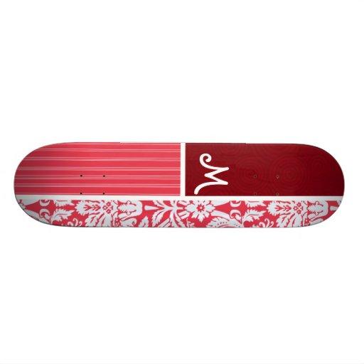 Red Damask Pattern Skateboard Deck