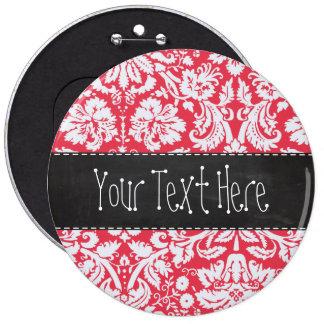 Red Damask Pattern; Vintage Chalkboard 6 Cm Round Badge