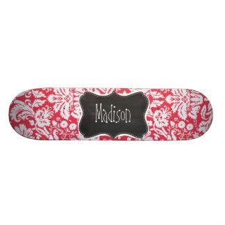 Red Damask Pattern Vintage Chalkboard Skate Deck