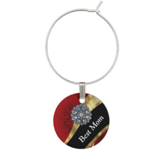 Red damask personalized mom wine charm