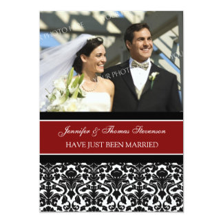 Red Damask Photo Just Married Announcement Cards