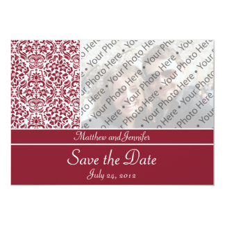 Red Damask Photo Save the Date Announcement Invite