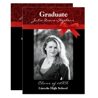 Red Damask & Red Bow - Graduation Announcement
