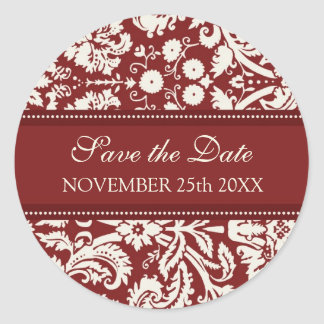 Red Damask Save the Date Envelope Seal Round Sticker