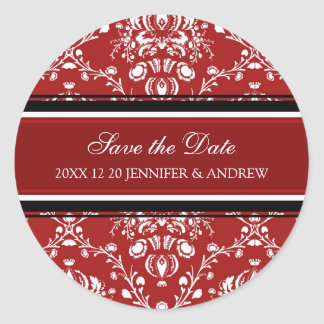 Red Damask Save the Date Winter Wedding Stickers