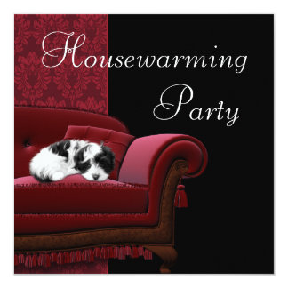 Red Damask Sofa Housewarming Party Invitation