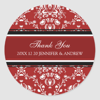 Red Damask Thank You Winter Wedding Stickers