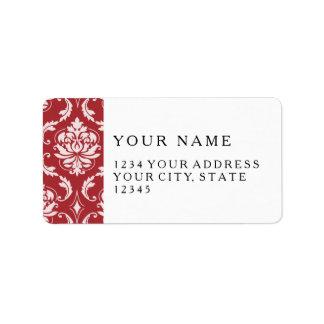 Red Damask Vintage Pattern Address Label