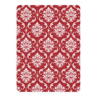 Red Damask Vintage Pattern Personalized Announcements