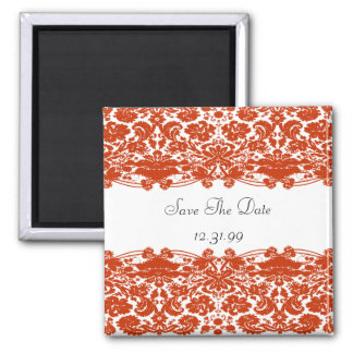 Red Damask Wedding Fridge Magnets