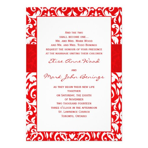 Red damask wedding invitation template 13 cm x 18 cm for Damask wedding invitations template free