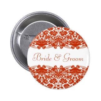 Red Damask Wedding Pin