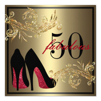 Red Dancing Shoes - Fabulous 50th Birthday 13 Cm X 13 Cm Square Invitation Card