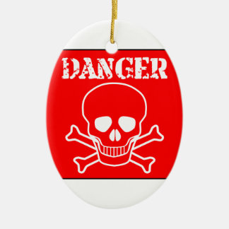 Red Danger Sign Ceramic Ornament