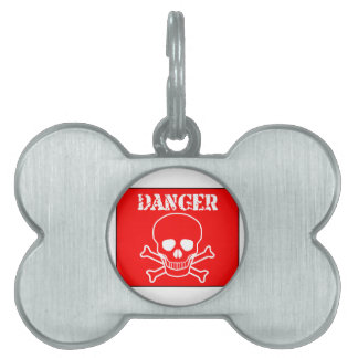Red Danger Sign Pet ID Tag