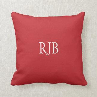 Red dark custom initials monogram cushion pillow