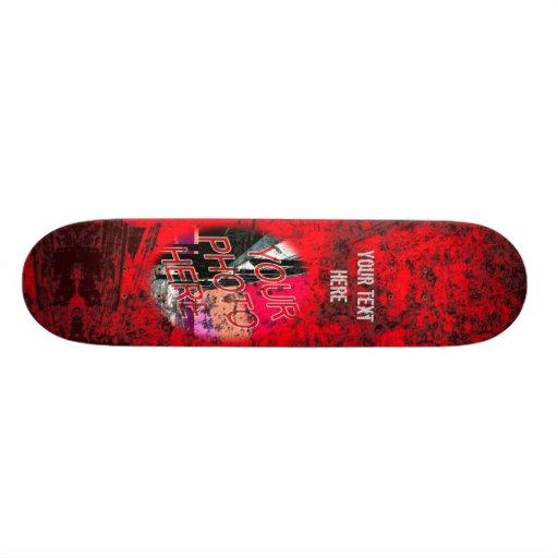 Red Dark Grunge Photo Template Skateboard