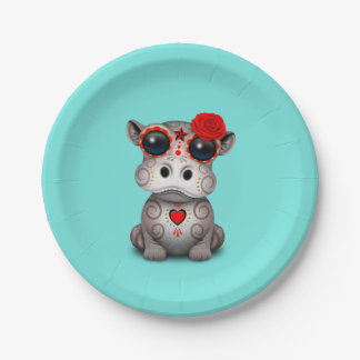 Red Day of the Dead Baby Hippo Paper Plate