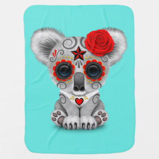 Red Day of the Dead Baby Koala Baby Blanket