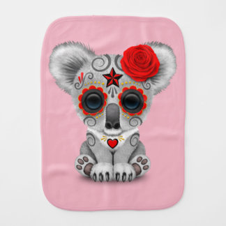 Red Day of the Dead Baby Koala Burp Cloth